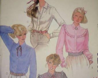 Vintage 80s Sewing Pattern McCall's 7211 Women's Ruffled Yoke Button up Shirts