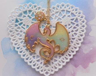 Pastel Galaxy Dragon Necklace