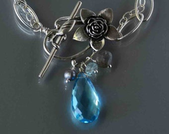 Blue Topaz Necklace in Silver, Silver Chain and Blue Stone Botanical Necklace, Flower and Stone Drop Necklace, December birthstone