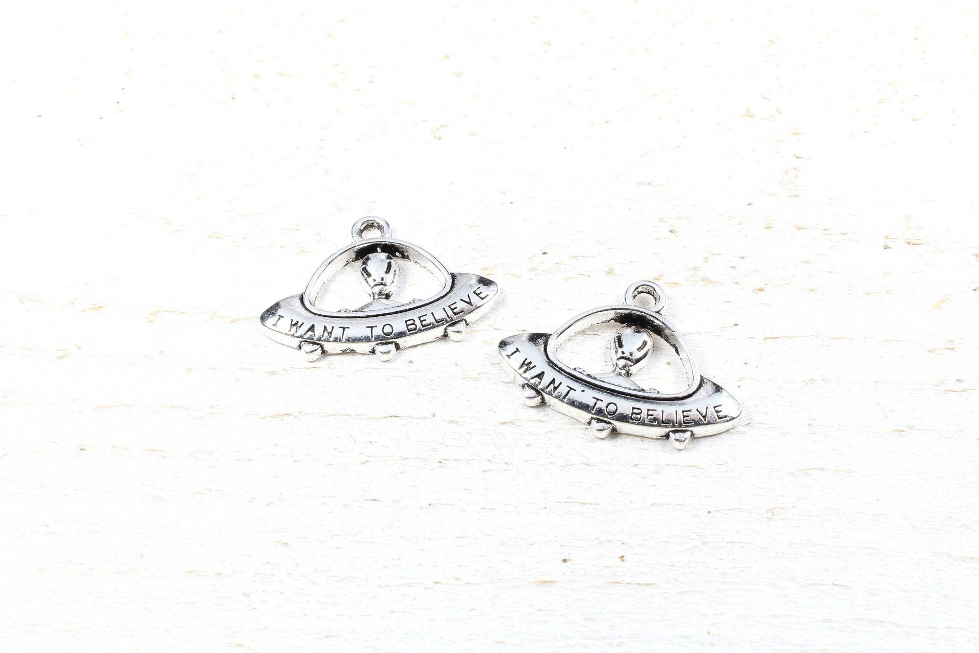 2 Charms UFO / Flying Saucer Metal Color Silver 31 X 23mm