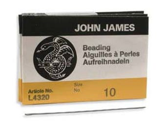 John James Needles, Size 10 English Beading Needle Qty 25 For Bead Weaving 10/0, English Longs Needles