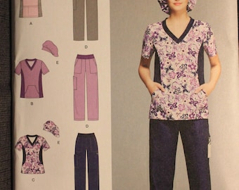 Simplicity 1020   Easy to Sew   Misses Scrub Pants, Top and Hat   Size 10 to to 18