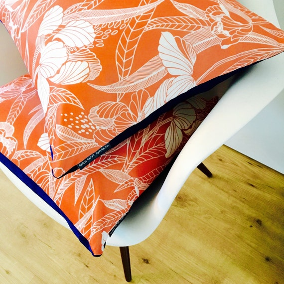 "Peach and White Flower Pillow Cover 18""x18"" Square Cushion Peach Pillow Vintage Boho Chic Floral Motif Navy Blue Polyester"