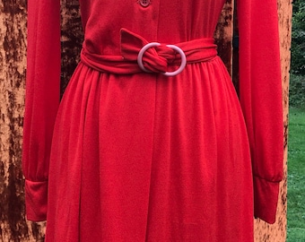 1970s Bright Coral Red Shirtdress