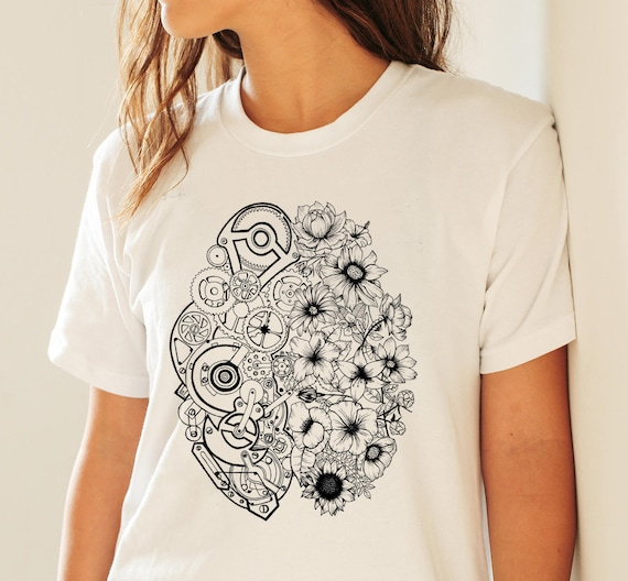 Left Brain Right Brain | Unisex T-shirt | Apparel | Women / Men Clothing | Personalized T-shirt | Ink flowers | Graphic Tee | ZuskaArt