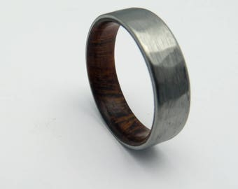 Mens rustic titanium and wood wedding band   Ironwood lined titanium ring