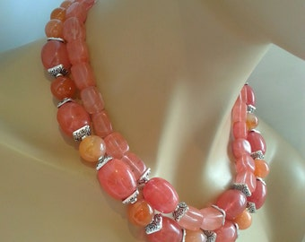 25% Off Sale Multistrand Statement Necklace Strawberry Quartz and Orange Banded Agate Gemstone Statement Necklace