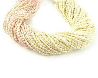 White/Pink Rice Pearls, 3 strands
