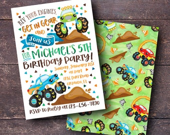 Monster Truck Invitation, Monster Truck Birthday Invitation, Truck Invitation, Monster Truck Party, Monster Truck Party Invitation