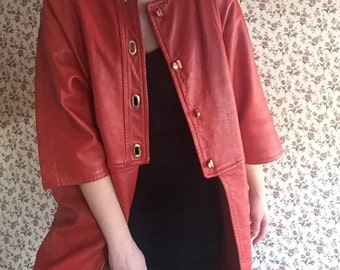 80s red leather dolman sleeve vintage winter coat JACKET womens high fashion avant garde Nagel gold toggle buttons pea coat unique rare S M