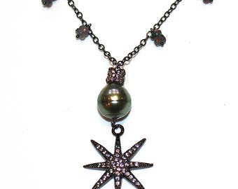 Green Tahitian Pearl Necklace Black Gold Silver Star Necklace Black Opal Necklace Charm Necklace Black Necklace Tahitian Pearl Jewelry