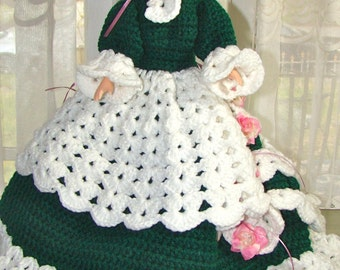 """Doll with Crocheted Dress. Vintage Handmade Doll Dress and Hat. Scarlett Ohara. 15"""" Doll. Handmade Gown."""