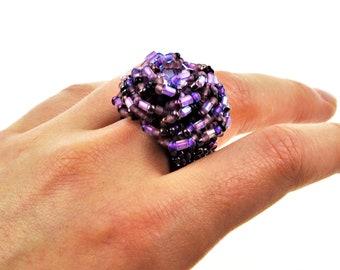 Guatemalan Handcrafted Sea Glass  Beaded Ring Purple