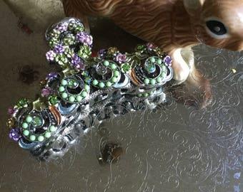 Beautiful Vintage Wien Boutique Bejeweled Metal Hair Clip/Jewelry