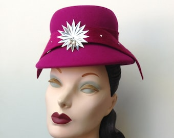 Fuchsia Raspberry Wool Felt Mini Cloche Cocktail Hat