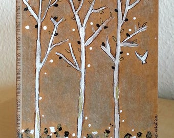 Notebook - trees - book illustrated book hand painted