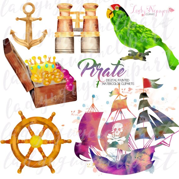 instant download pirate digital painted watercolor clip art for rh etsystudio com scrapbooking clip art images pictures scrapbooking clip art images