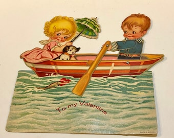 Vintage Valentine Card, Girl and Boy, Boston Terrier, Row Boat, Charles Twelvetrees Valentine, 1920's Mechanical  Die Cut Valentine,Germany