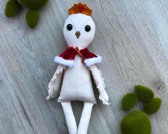 Owl plush / fabric doll handmade, rag doll, heirloom doll
