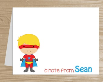 Personalized Kids' Note Cards - Set of 10 Superhero Notecards for Boys - Folded Note Cards with Envelopes - Custom Superhero Notecards