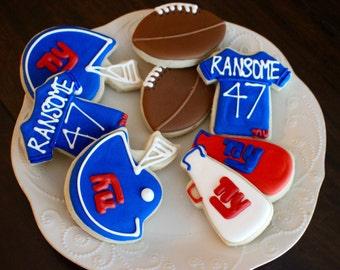 Football Sugar Cookies - Sports Cookies - Team Cookies - NFL Cookies - Pro Cookies - Birthday Cookies - Tail gate Cookies - 1 Dozen!