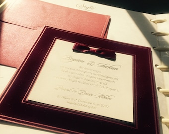 Royal red velvet personalised wedding invitation 3697