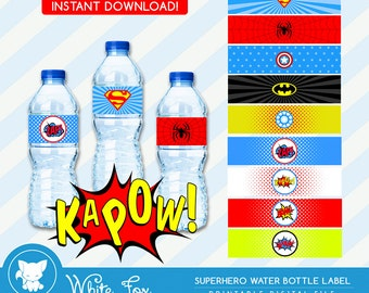 Superhero Water Bottle Labels - INSTANT DOWNLOAD   Superhero Water Bottle Wrappers   Super Hero Party Favors   digital printable