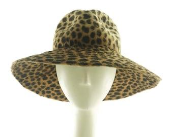 Animal Print Wide Brim Hat, Felt Hat, Fedora Hat for Women Floppy Hat Mother of the Bride Hat Wedding Hat Ladies Fedora Hat Brim Hat sun Hat