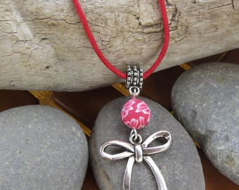 Shabby chic necklace with Silver buckle and fimo flower