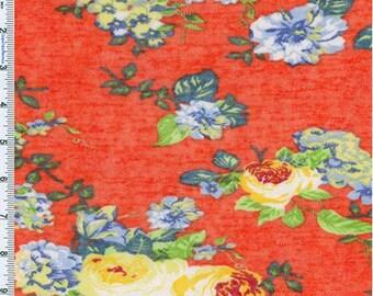 Red Orange/Green/Marigold Slub Sweater Knit, Fabric By The Yard
