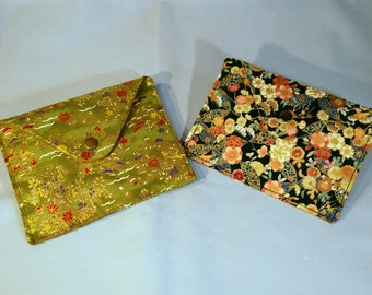 Pocket envelope - 2 designs-fabric Japanese green and black