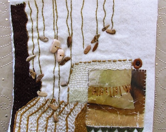 Wooden beads Mini Quilt , hand embroidery, mixed media, wall hanging, home decor, Ooak
