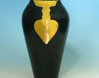Soulmates Vase, one-of-a-kind pottery, heart & faces carved in clay, spiritual, mystical, romantic, gift, Judith Taylor, EarthDances Pottery