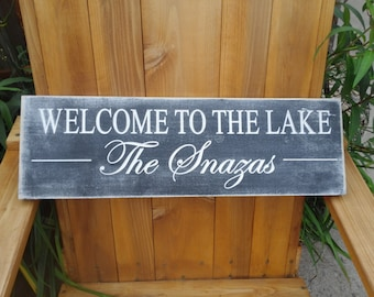 Welcome to the lake Sign, Cabin Sign, Custom Name Sign, lake decor Wall Sign Carved Engraved Personalized Family Name