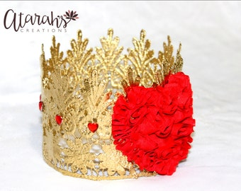 Gold Lace crown /Valentine Queen of Heart / Gold crown red Heart / Valentine Crown