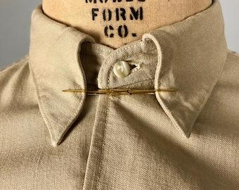 Vintage 1950s Mens Collar Bar | 50s Mid Century Classic Brass Tie Collar Clip