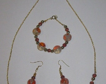 Orange Bead Jewelry Set