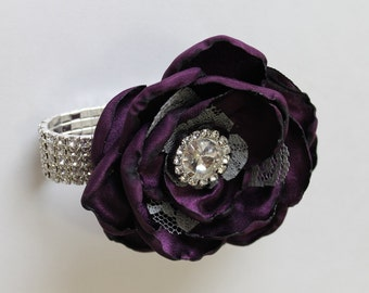 Wrist Corsage Plum Wedding  Corsage Mothers  Corsage Corsage Prom Corsage Flower Corsage Wristlet Corsage Wedding  Plum Corsage