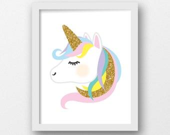 Unicorn wall art, PRINTABLE, Gold glitter, Rainbow, Pink, Purple, Girls nursery art, Cute girls prints, Girls art, Kids prints, Girls room