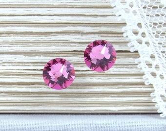 Pink Crystal Studs Pink Stud Earrings Pink Studs Rhinestone Studs October Birthstone Surgical Steel Studs