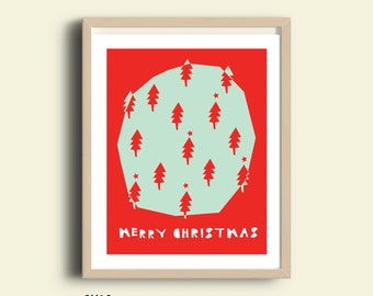 Printable Christmas decor, christmas tree printable, instant download christmas poster, christmas tree print, merry christmas red typography