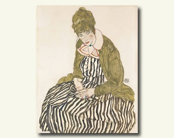 Bamboo Paper - Edith With Striped Dress Sitting 1915 - Egon Schiele Print Schiele Poster Gift Idea  bp