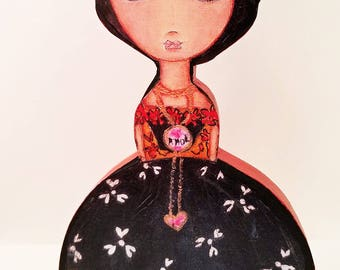 Frida - Thinking of Love  - Wooden Doll - ( 7.5 inches) Folk Art  by FLOR LARIOS