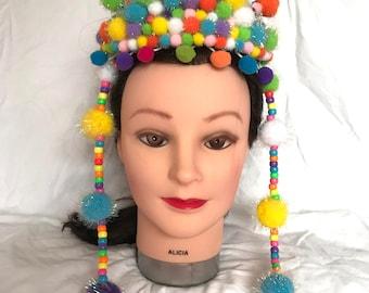 light up pom pom festival tiara headpiece coachella burning man