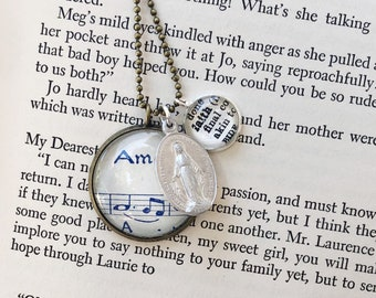 Faith Inspirational Dictionary Charm Necklace, Amen Definition Religious Necklace, Vintage Religious medal Charm Necklace, Dictionary Jewery