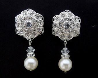 Pearl Earrings Bridal rhinestone Earrings Bridal Earrings swarovski pearl earrings Wedding Pearl Earrings bridal stud earrings STEPHANIE