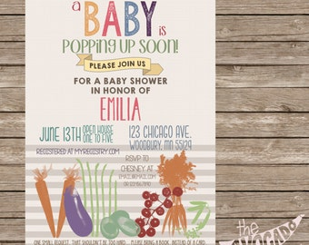 A Baby is Popping Up Soon Vegetable Baby Shower Invitation - Professional Prints or DIY Printing