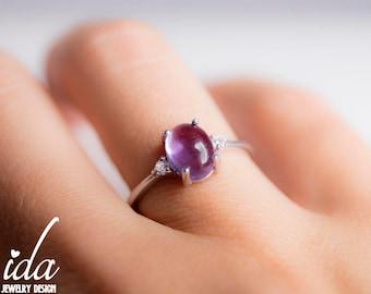 Amethyst Ring - Gemstone Ring - Sterling Silver Ring - Gemstone Jewelry - Boho Jewelry - Amethyst Engagement Ring,Boho Rings,Statement Ring