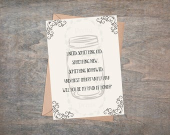 Will You Be My Maid Of Honor Card - Maid Of Honor Proposal - Instant Download - Print At Home - DIY - K0001