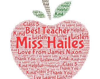 Teacher, Personalised Thank You Gift, Word Art, Print End Of Term, Retirement, Leaving Present
